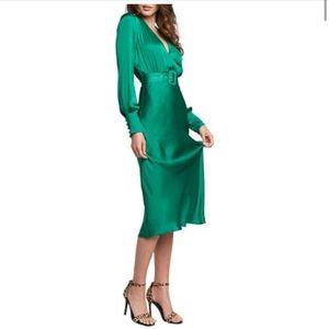 Bardot inspired Emerald Green Midi Dress